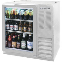 Beverage Air BB36GF-1-S-LED 36 inch Food Rated Glass Door Back Bar Refrigerator - Stainless Steel with LED Lighting