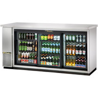 True TBB-24-72G-SD-S-LD 73 inch Stainless Steel Narrow Sliding Glass Door Back Bar Refrigerator with LED Lighting