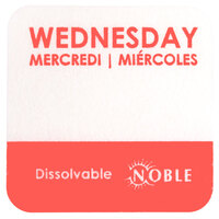 Noble Products Wednesday 1 inch Dissolvable Day of the Week Dot Label - 1000 / Roll
