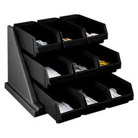 Cambro 9RS9110 Black Versa Self Serve Condiment Bin Stand Set with 3-Tier Stand and 12 inch Condiment Bins