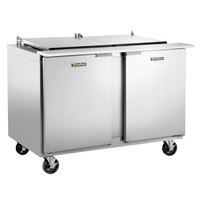 Traulsen UST4818-LL-SB 48 inch Sandwich / Salad Prep Table with Left / Left Hinged Doors and Stainless Steel Back