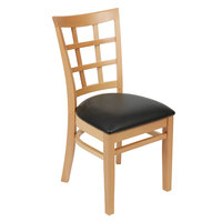 """Lancaster Table &amp&#x3b; Seating Natural Wooden Window Back Chair with 1 1/2"""" Padded Seat"""