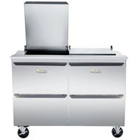 Traulsen UST7230-DD-SB 72 inch Compact Sandwich / Salad Prep Table with Four Drawers and Stainless Steel Back