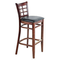 Lancaster Table & Seating Mahogany Window Back Bar Height Chair with Black Padded Seat