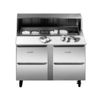 Traulsen UPT276-D-SB 27 inch Sandwich / Salad Prep Table with Two Drawers and Stainless Steel Back
