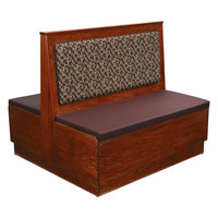 American Tables & Seating AD48-W-PS Plain Back Platform Seat Double Wood Booth - 48 inch High