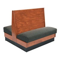 American Tables & Seating AD42-WBB-SS Bead Board Back Standard Seat Double Wood Booth - 42 inch High