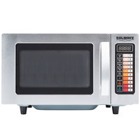 Solwave MW1000SS Stainless Steel Commercial Microwave with Push Button Controls - 120V, 1000W
