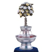 Apex 3023-S Oasis 3 Gallon Silver Aluminum Beverage Fountain with Silver Rope Trim and Statue Set