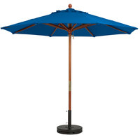 Grosfillex 98919731 9' Pacific Blue Market Umbrella with 1 1/2 inch Wooden Pole