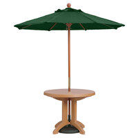 Grosfillex 98942031 7' Forest Green Market Umbrella with 1 1/2 inch Wooden Pole