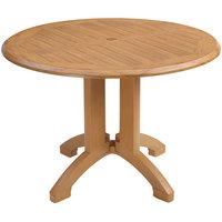 Grosfillex US240608 Winston 42 inch Teak Decor Round Molded Melamine Pedestal Table with Umbrella Hole
