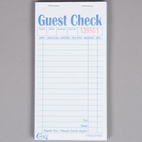 Choice 2 Part Green and White Carbonless Guest Check - 10/Pack