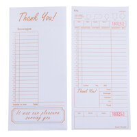 Choice 1 Part Tan and White Guest Check with Beverage Lines and Bottom Guest Receipt - 250 Loose Packed Checks / Pack