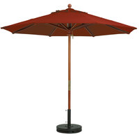 Grosfillex 98918231 9' Terra Cotta Market Umbrella with 1 1/2 inch Wooden Pole