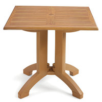 Grosfillex US240208 Winston 32 inch x 32 inch Teak Decor Square Molded Melamine Pedestal Table with Umbrella Hole