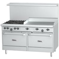 Garland G60-4G36CC Natural Gas 4 Burner 60 inch Range with 36 inch Griddle and 2 Convection Ovens - 262,000 BTU