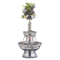 Buffet Enhancements 1BMFDC3SS 3 Gallon SS Champagne Fountain with Silver Rope Trim and Statue Set