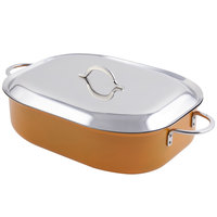 Bon Chef 60004CFCLD Cucina Classic Country French 7 Qt. Orange French Oven with Lid, Handles, and Induction Bottom - 15 inch x 11 inch x 4 inch