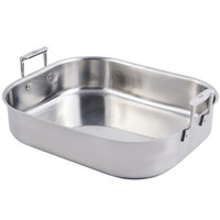 Bon Chef 60010CLD Cucina 10 Qt. Stainless Steel Rotisserie Pan with Handles and Induction Bottom - 16 1/2 inch x 14 1/4 inch x 4 inch