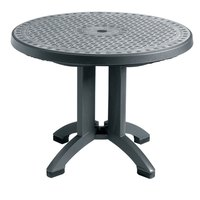 Grosfillex US711002 Toledo 38 inch Round Resin Folding Outdoor Table - Charcoal Base