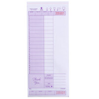 Choice 2 Part Purple and White Carbonless Guest Check with Note Space, Beverage Lines, and Bottom Guest Receipt - 250 Loose Packed Checks / Pack