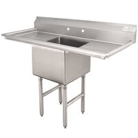 Advance Tabco FC-1-1824-24RL One Compartment Stainless Steel Commercial Sink with Two Drainboards - 66 inch