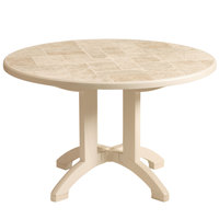 Grosfillex US700066 Siena 38 inch Round Resin Folding Outdoor Table - Sandstone Base