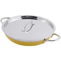 Bon Chef 60306 Classic Country French Collection 3 Qt. 4 oz. Yellow Saute Pan / Skillet with Cover and Double Handles