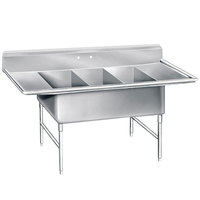Advance Tabco K7-3-2030-24RL 16 Gauge Three Compartment Stainless Steel Super Size Sink with Two Drainboards - 108 inch