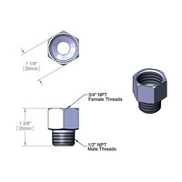 T&S 006112-25 Adapter with 3/4 inch NPT Female and 1/2 inch NPT Male Connections