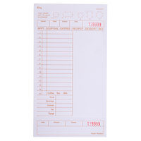 Choice 1 Part Tan and White Guest Check with Note Space, Beverage Lines, and Bottom Guest Receipt - 500 Loose Packed Checks / Pack