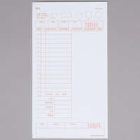 Choice 1 Part Tan and White Guest Check with Note Space, Beverage Lines, and Bottom Guest Receipt - 500/Pack