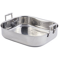 Bon Chef 60010CLDHF Cucina 10 Qt. Hammered Finish Stainless Steel Rotisserie Pan with Handles and Induction Bottom - 16 3/8 inch x 14 1/16 inch x 4 inch
