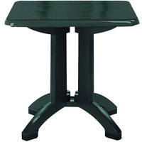 Grosfillex US810078 Vega 32 inch Square Resin Folding Outdoor Table - Amazon Green Base - 12/Case
