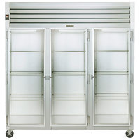 Traulsen G32010 3 Section Glass Door Reach In Refrigerator - Left / Right / Right Hinged Doors