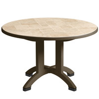 Grosfillex US700037 Siena 38 inch Round Resin Folding Outdoor Table - Bronze Mist Base