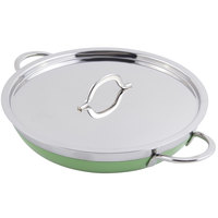 Bon Chef 60306 Classic Country French Collection 3 Qt. 4 oz. Green Saute Pan / Skillet with Cover and Double Handles