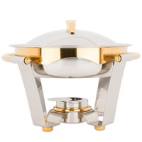 Vollrath 48323 4.2 qt. Panacea Medium Round Chafer with Gold Accents