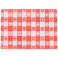 10 inch x 14 inch Red Gingham Colored Paper Placemat - 1000 / Case