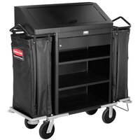 Rubbermaid 9T64 Metal Deluxe High Security Housekeeping Cart (FG9T6400BLA)