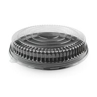Fineline Platter Pleasers 9201-LL Clear Low Dome Lid for 12 inch Round Thermoform Tray 25 / Case