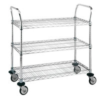 Metro MW706 Super Erecta 18 inch x 36 inch x 38 inch Three Shelf Standard Duty Stainless Steel Utility Cart