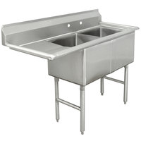 Advance Tabco FC-2-1824-24 Two Compartment Stainless Steel Commercial Sink with One Drainboard - 62 1/2 inch