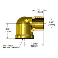 T&S 016876-45 Brass Elbow with 1/2 inch Sweat and 1/2 inch NPT Female Connections