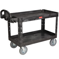 Rubbermaid FG454600BLA Black Large Two Lipped Shelf Utility Cart