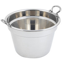 Bon Chef 5214HRSS 12 inch x 8 inch Stainless Steel 11 Qt. Plain Design Soup Tureen with Round Stainless Steel Handles