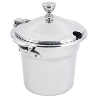 Bon Chef 5611WHCHRSS 10 5/8 inch x 8 1/4 inch Stainless Steel 7 Qt. Arches Design Soup Tureen with Chrome Accents and Round Stainless Steel Handles