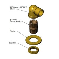 T&S 016876-45K Power Soak Elbow Kit with 1/2 inch Sweat and 1/2 inch NPT Connections
