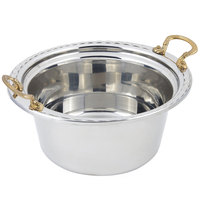 Bon Chef 5660HR 12 inch x 12 inch x 6 inch Stainless Steel 5 Qt. Arches Design Casserole Food Pan with Round Brass Handles